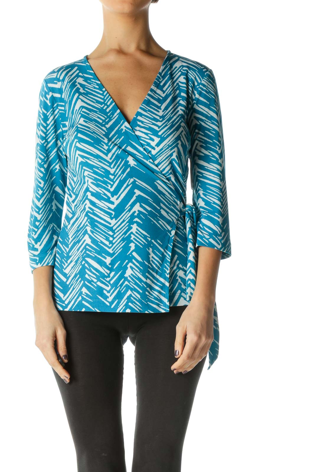 Blue 3/4 Sleeve V Neck Casual Blouse