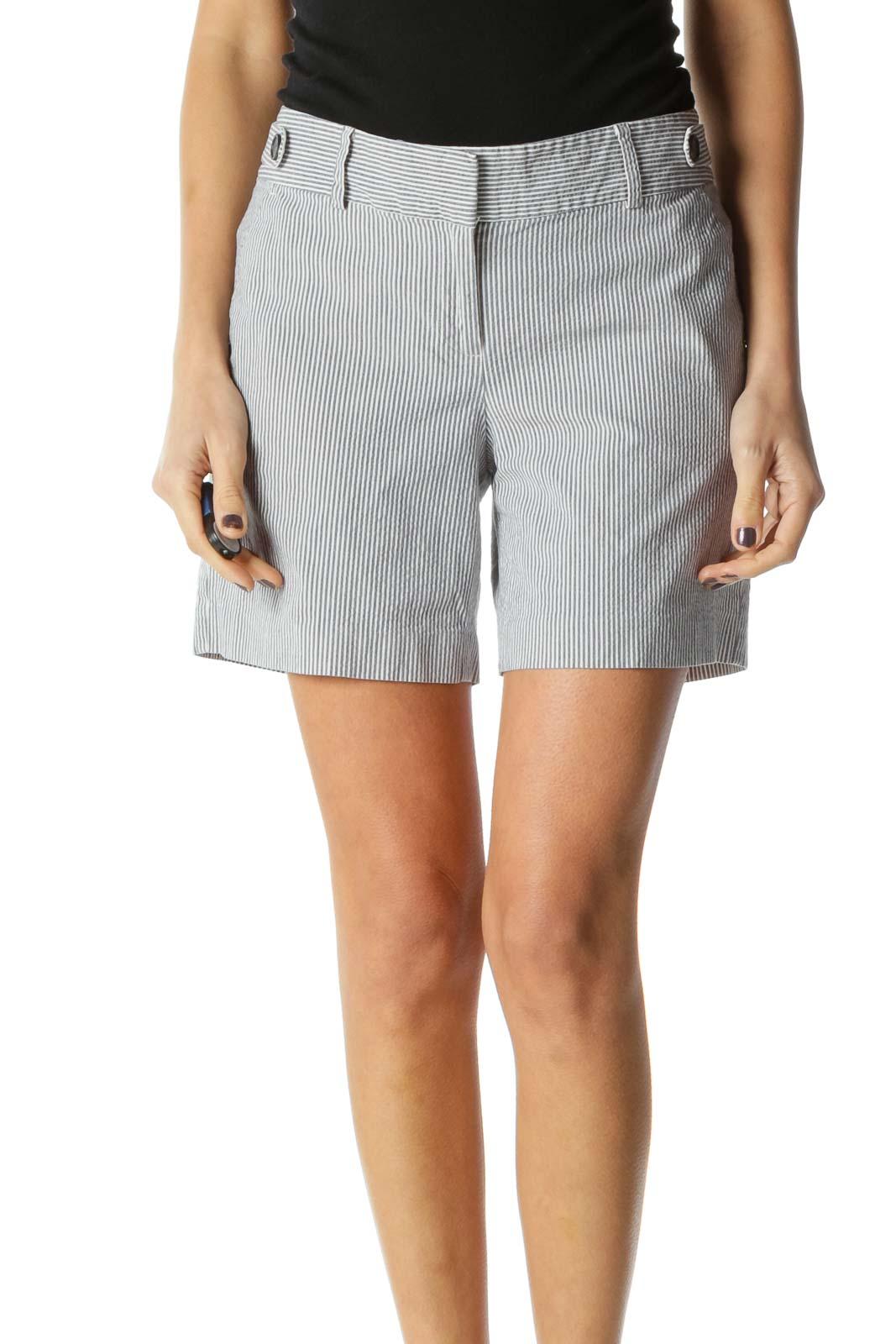 Gray Stripe Chic Shorts