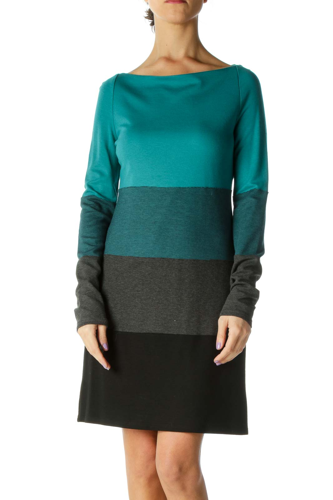 Green Color Block Shift Dress