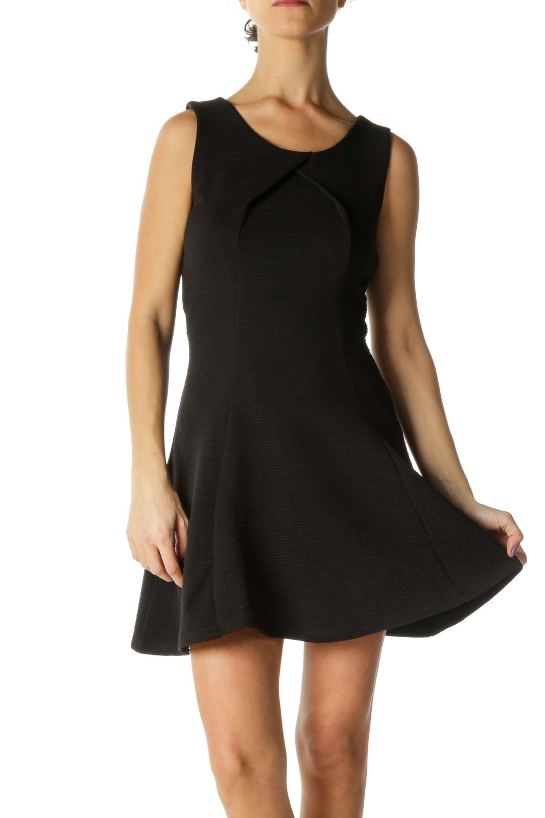 Black Solid Casual A-Line Dress