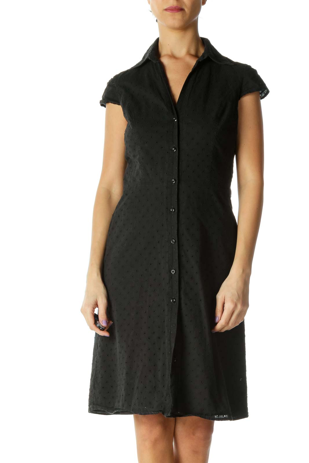 Black Solid A-Line Dress