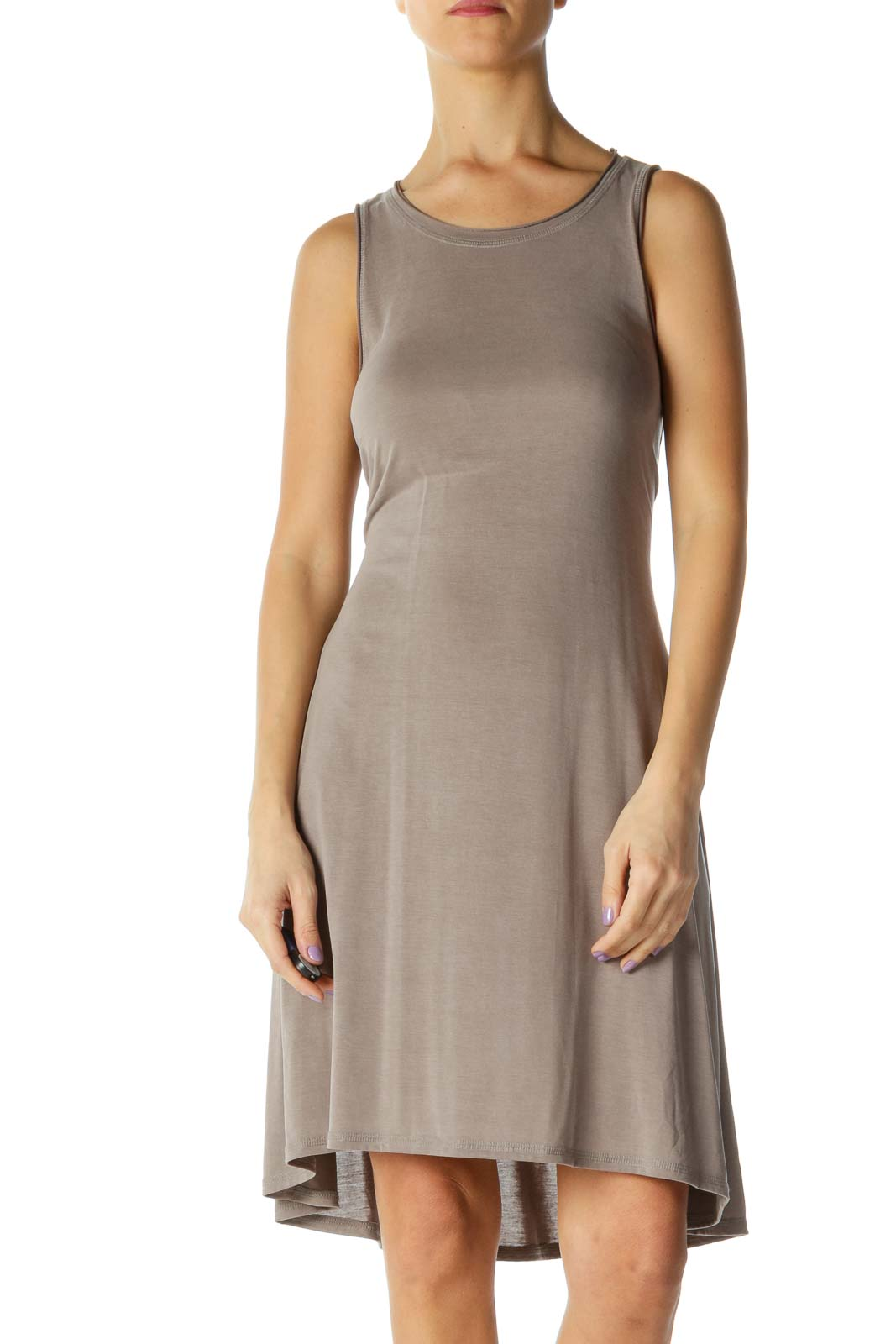 Brown Solid Casual A-Line Dress