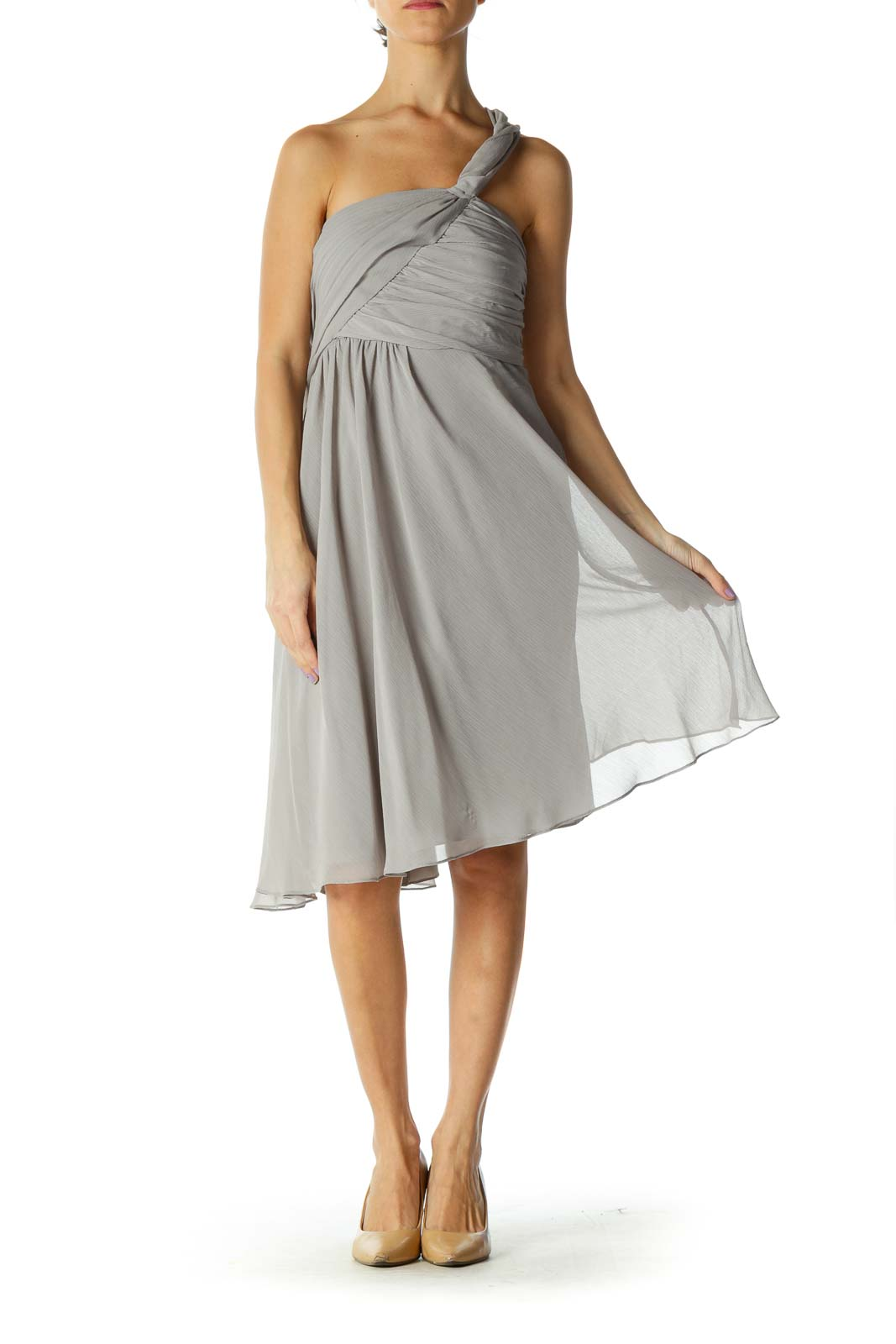 Gray Solid Cocktail A-Line Dress