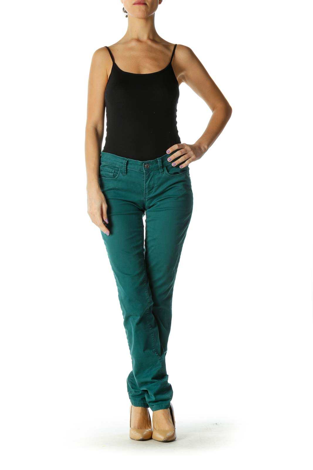 Green Casual Skinny Jeans