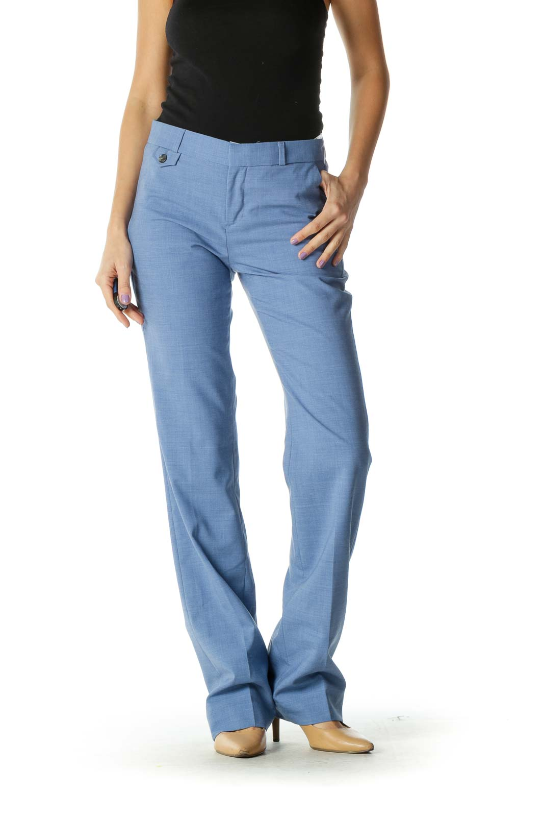 Blue Checkered Casual Trouser