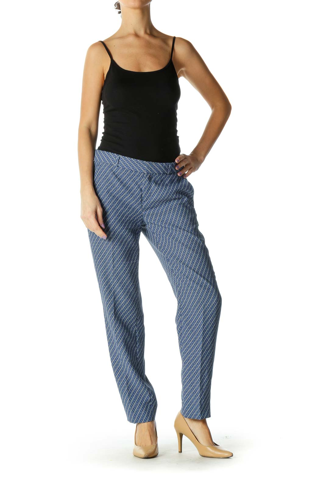 Blue Paisley Casual Trouser