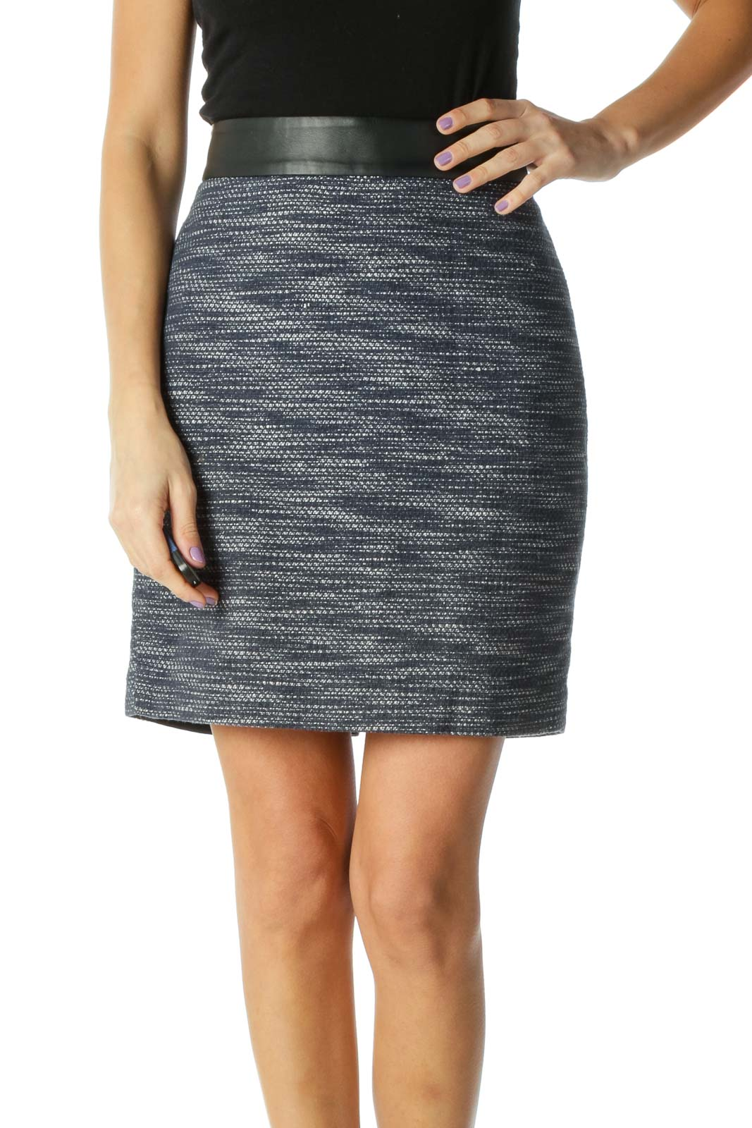 Blue Striped Chic Pencil Skirt