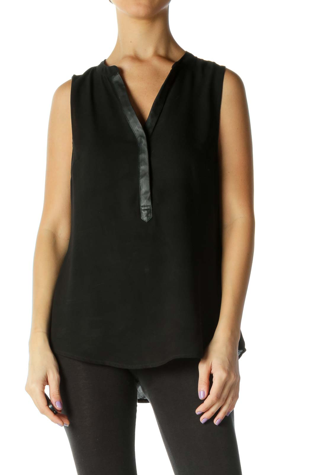 Black Solid Casual Blouse