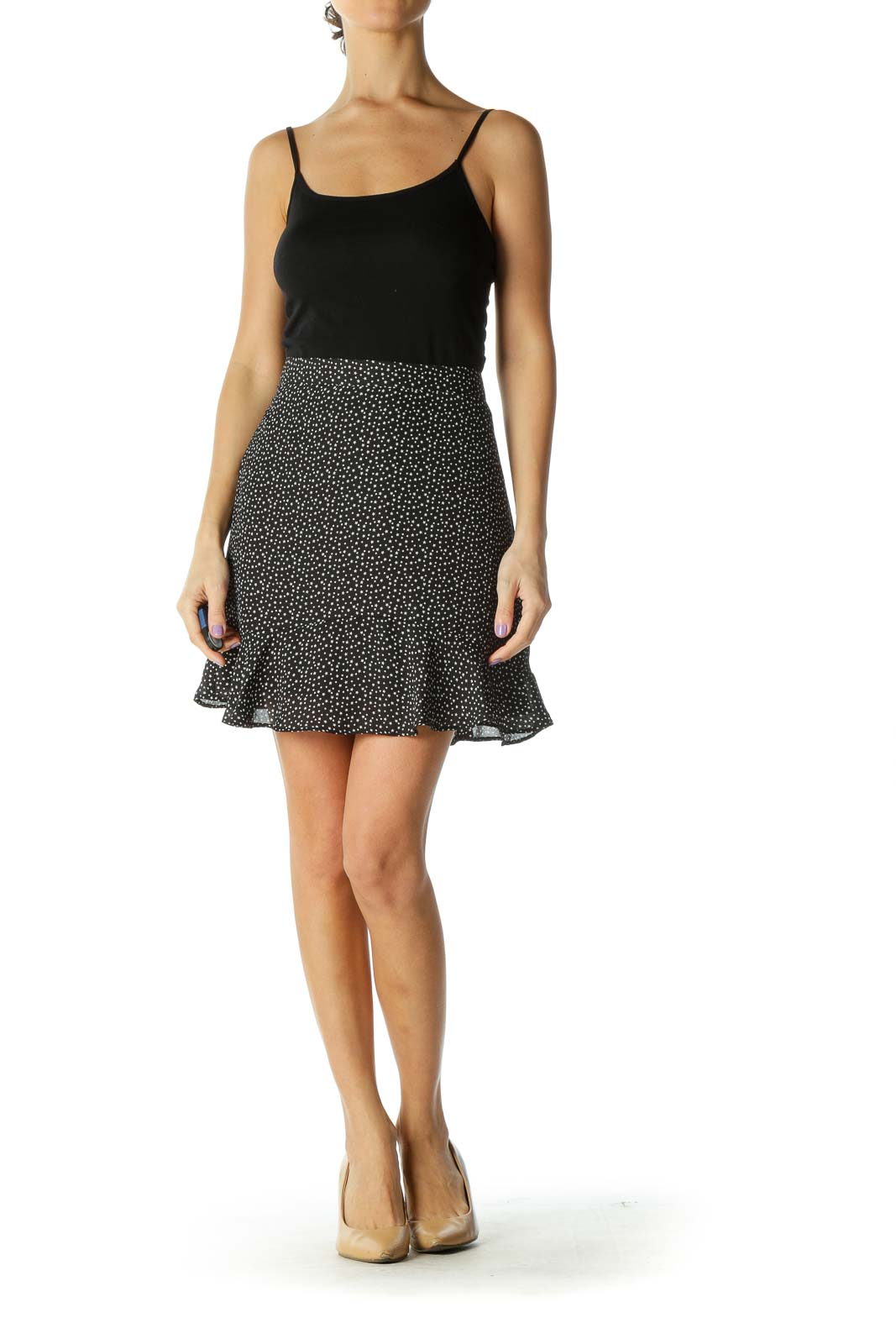 Black Polka Dot Chic A-Line Skirt