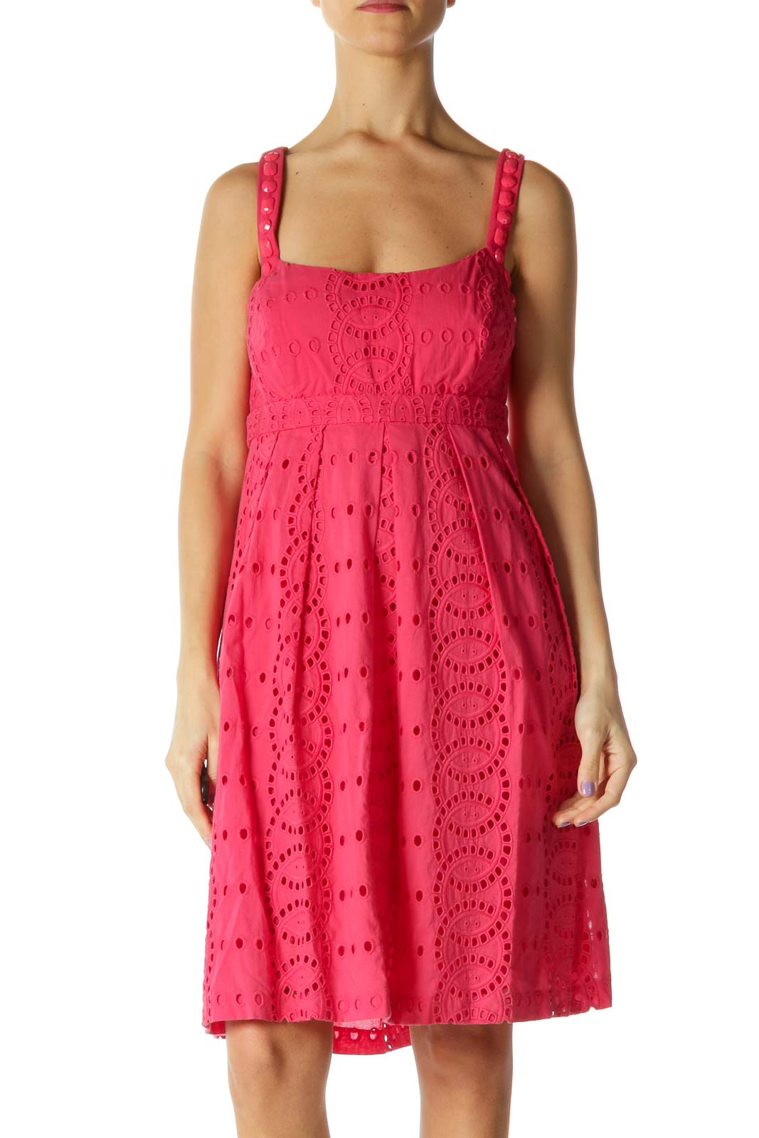 Pink Lace Casual A-Line Dress