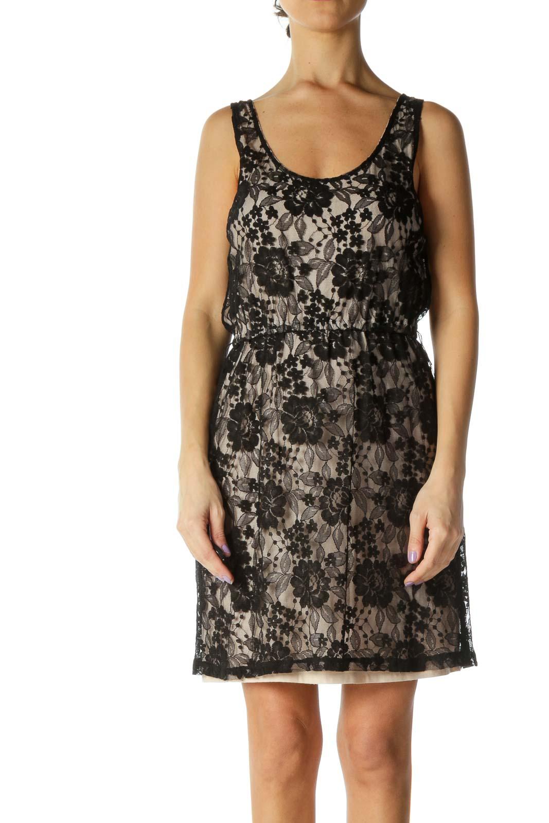 Beige Black Lace Holiday A-Line Dress