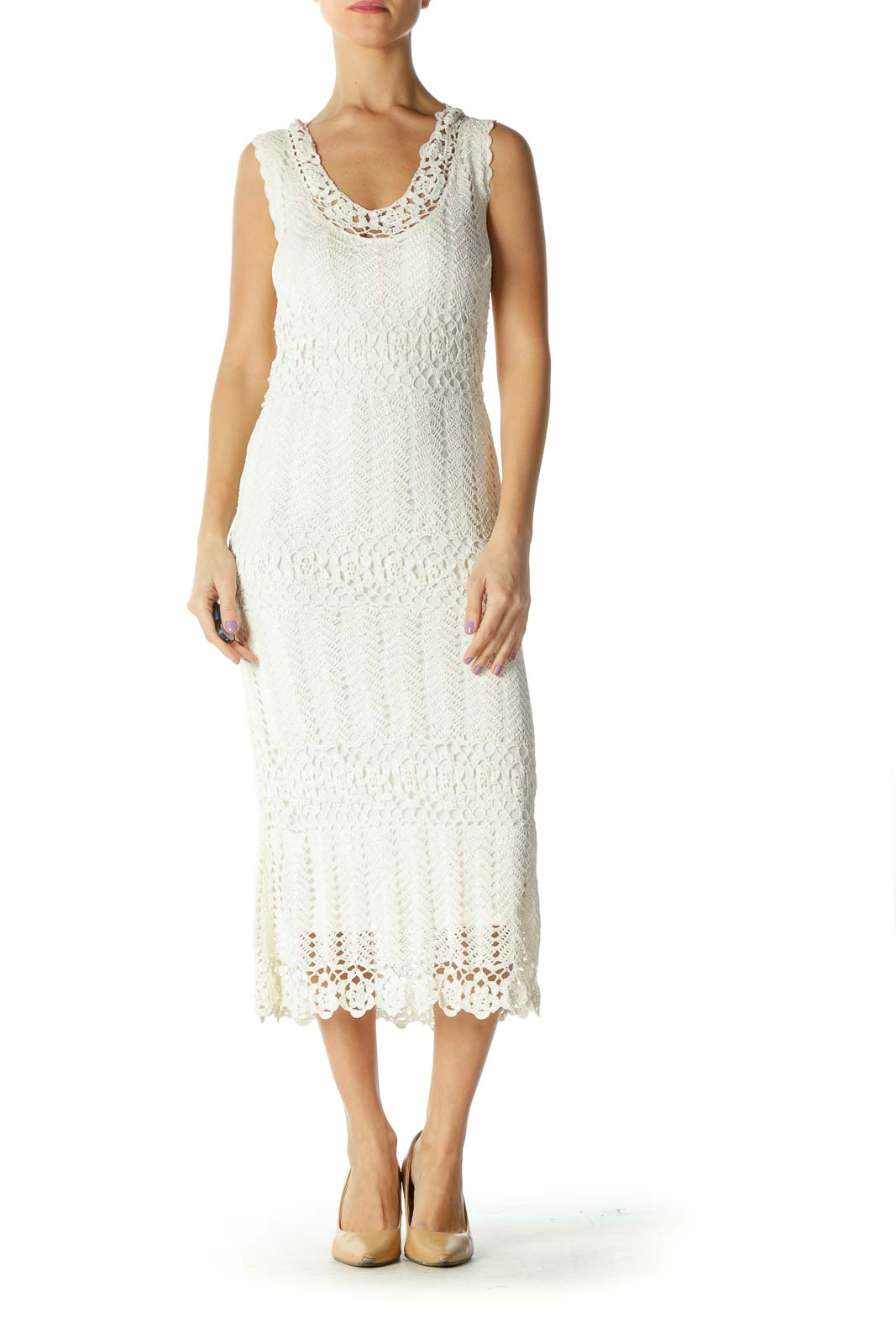 White Lace Retro Column Dress