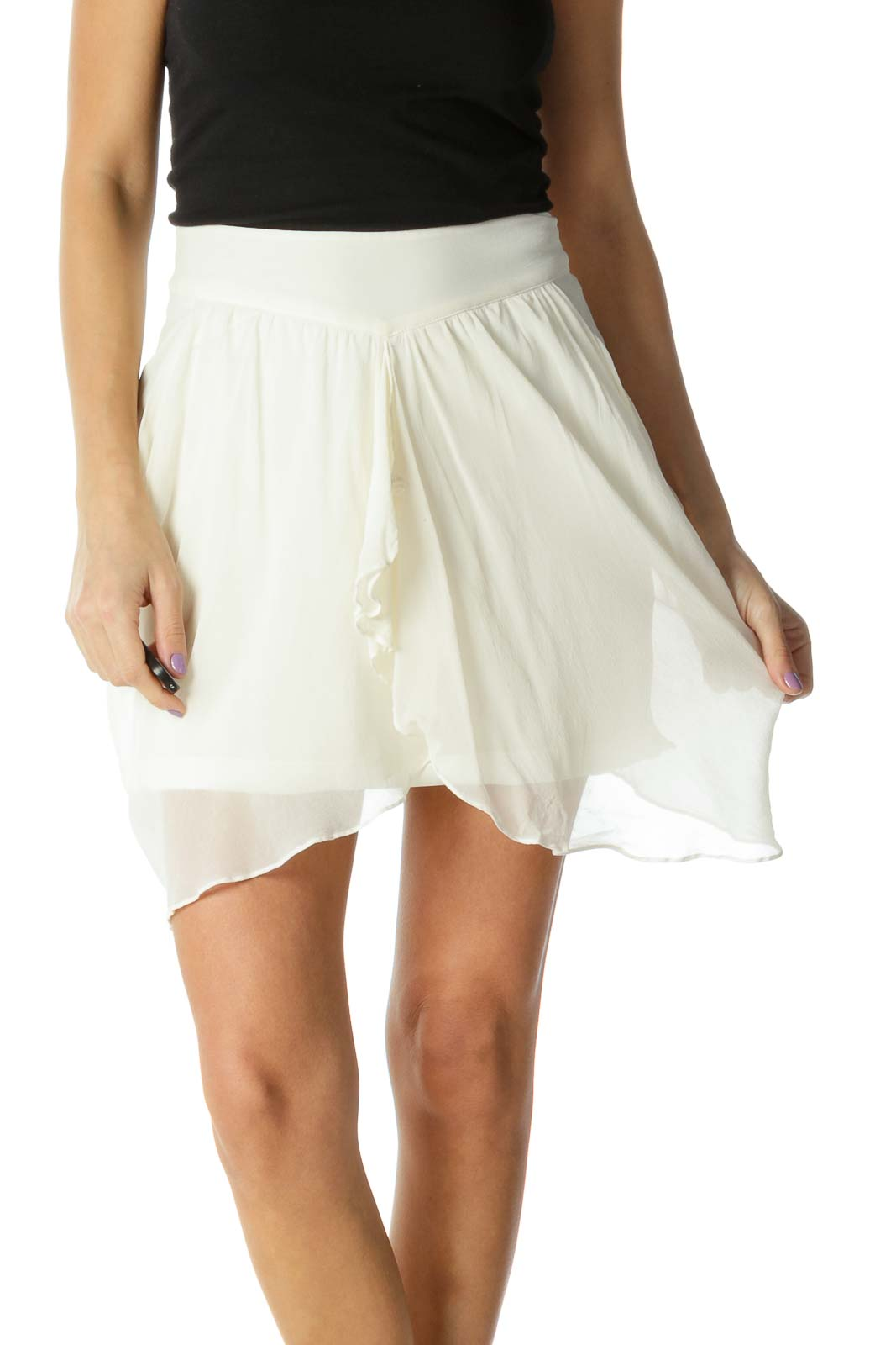 White Solid Chic Flared Skirt