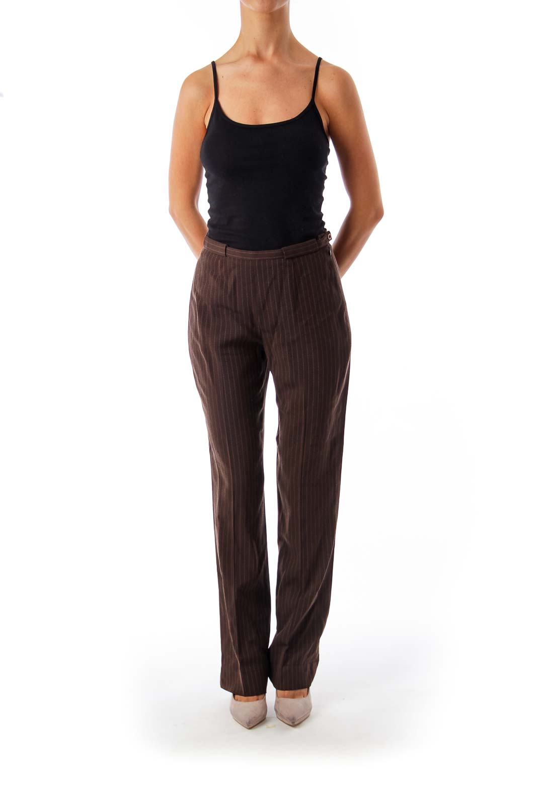 Brown Stripe Wide Leg Pants