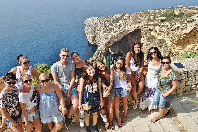 Students on a tour in Malta