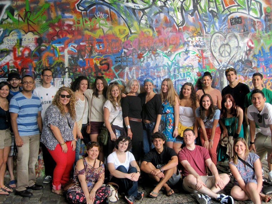 Students in Prague on a city tour