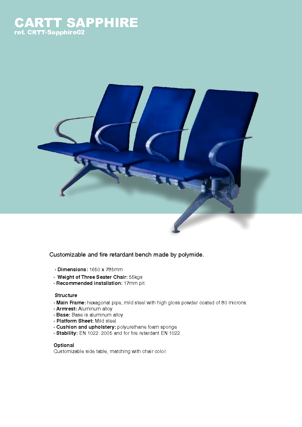 carttec airport sapphire benches