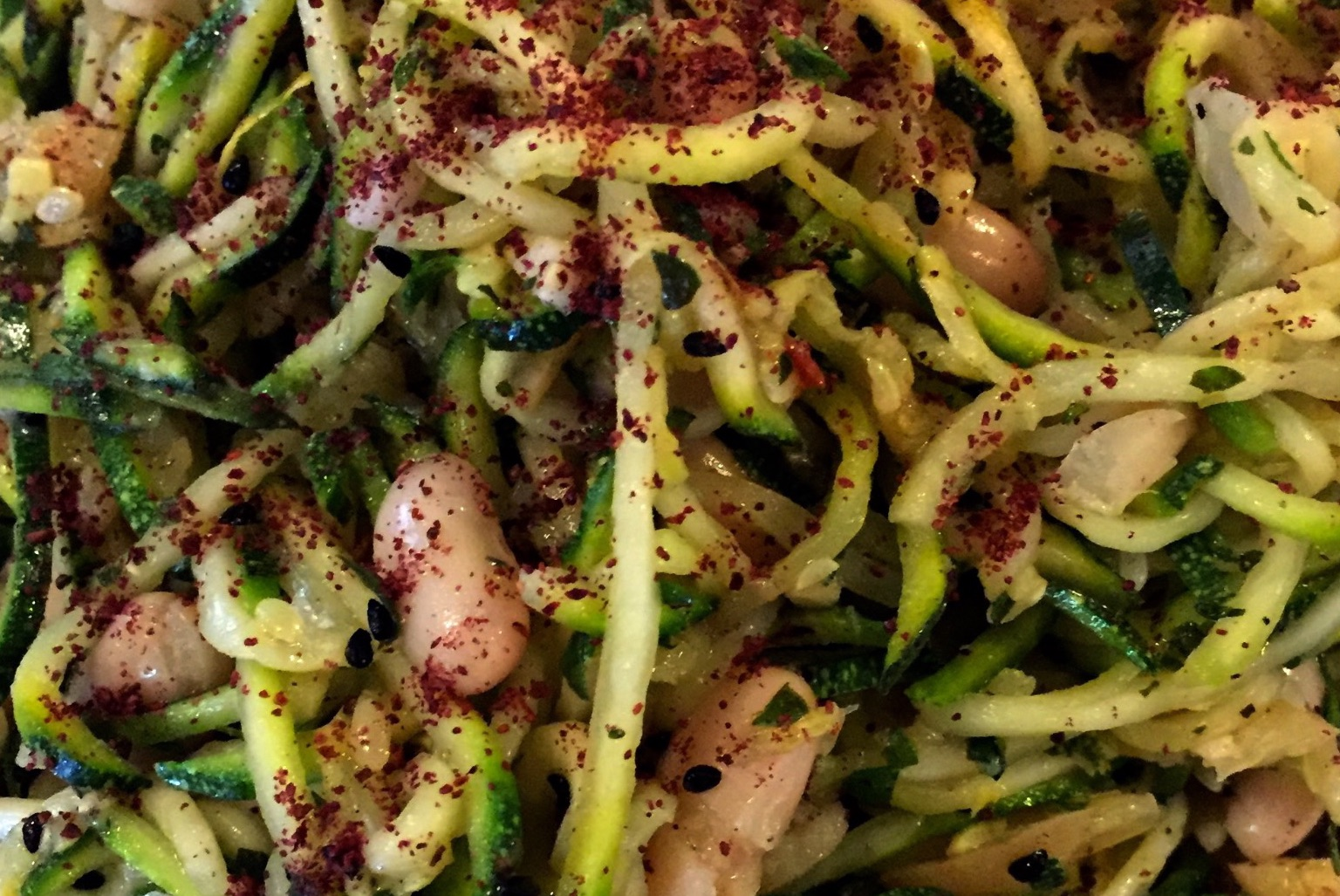 Courgetti with preserved lemon and butterbeans
