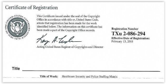 Copyright for Healthcare Security Staffing Matrix