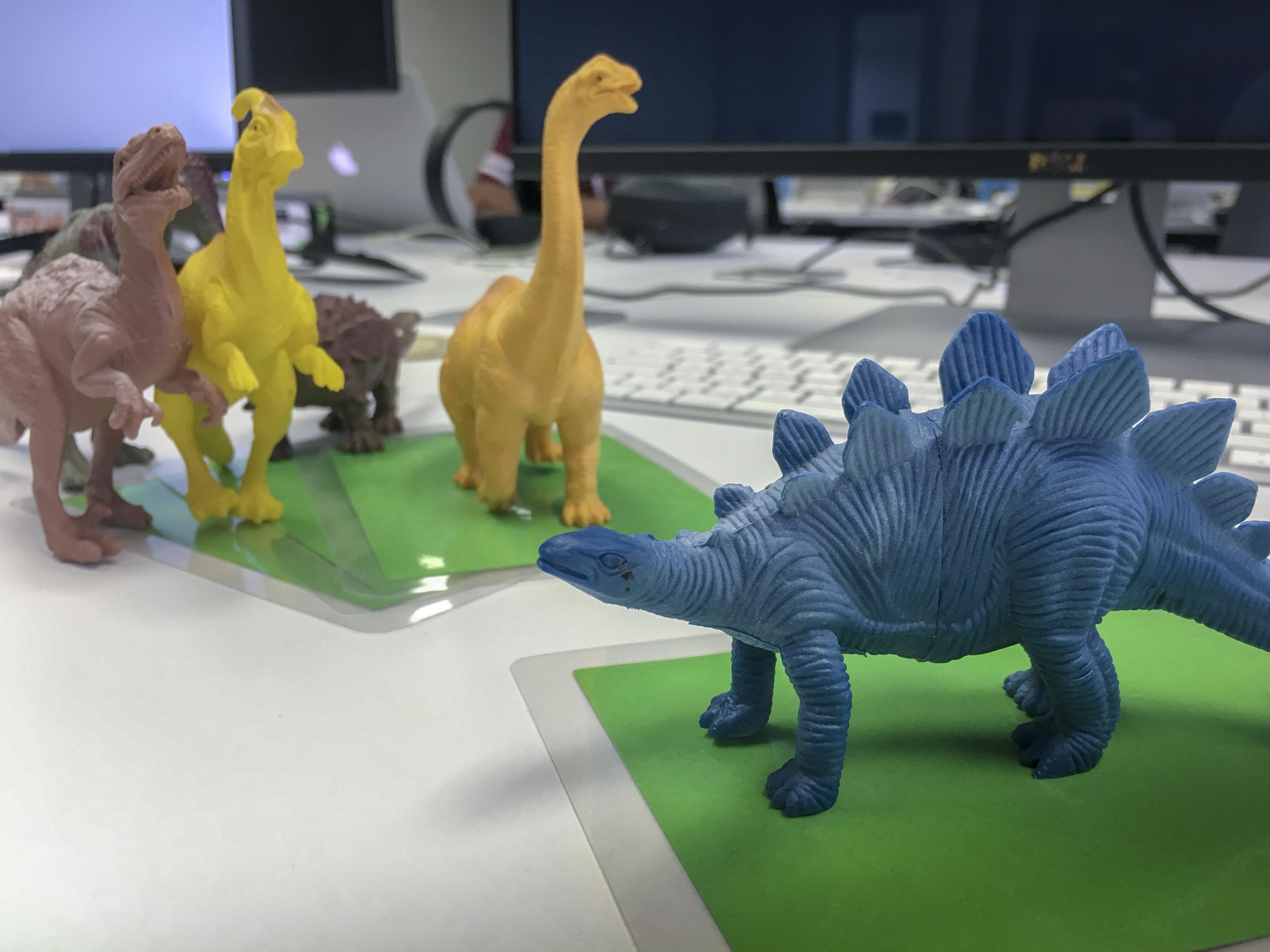 Dinos on cardboard