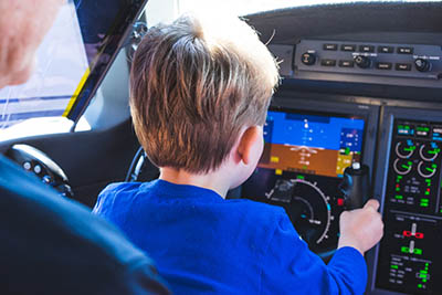 child in private jet