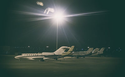 private jet ramp night