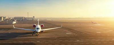 private jet sunset