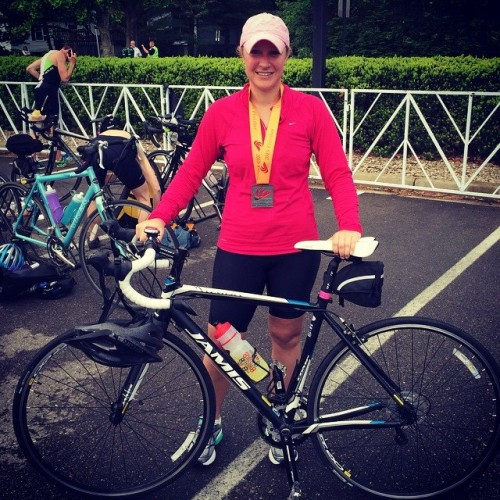 Me after completing my first triathlon, May 2015.