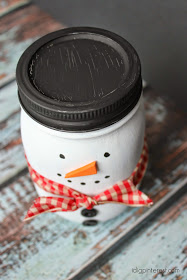 Painted Mason Jar Snowman3