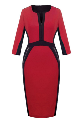 The Homeyee dress comes in carmine, blue, red (pictured), purple, houndstooth, green and pink,