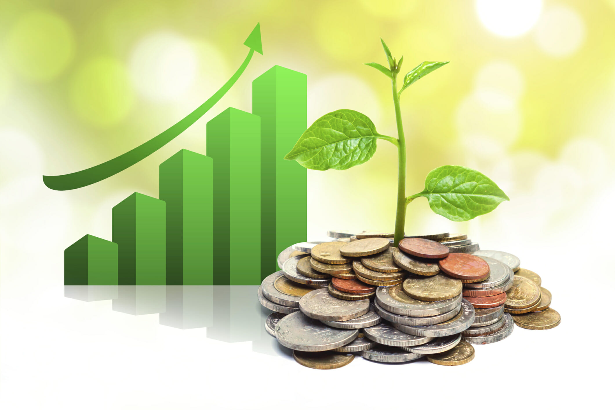 tress growing on coins with green graph