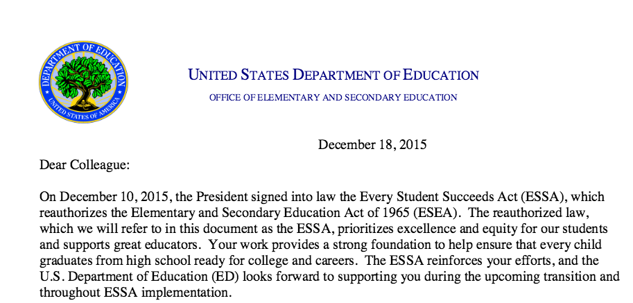 ESSA Dear Colleague Letter Offers Guidance on Implementation