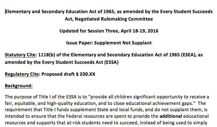 Us Education Department Releases >> Ed Releases Updated Supplement Not Supplant Draft National Title I