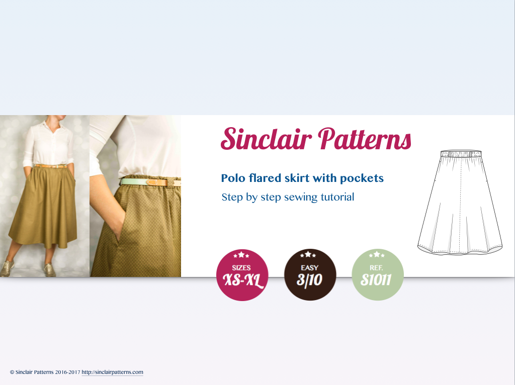 Flared midi skirt with side pockets sewing pattern (PDF) – Sinclair ...