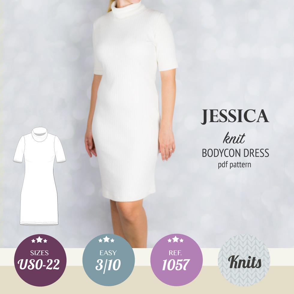 Jessica knit turtle neck bodycon midi dress (PDF) – Sinclair patterns