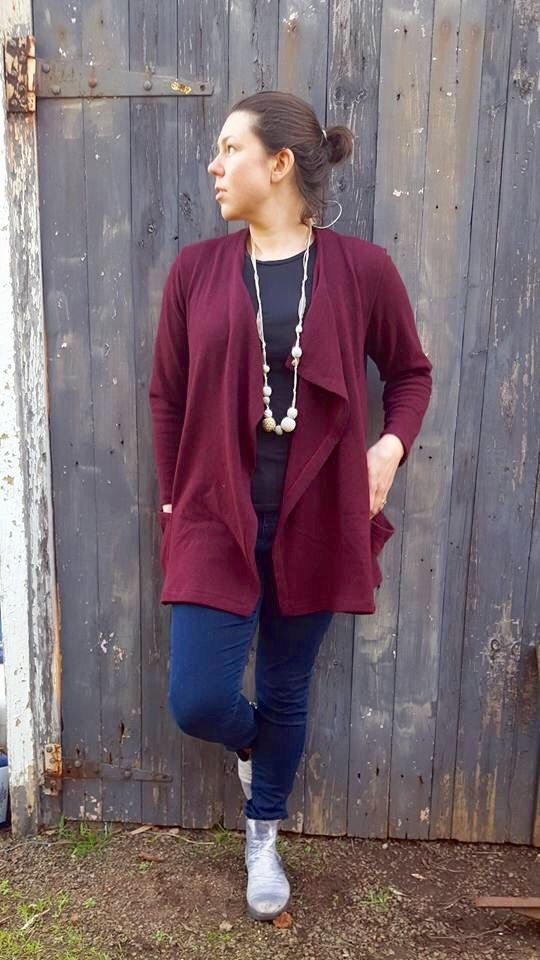 Candy relaxed fit knit cardigan with pockets and waterfall neckline ...