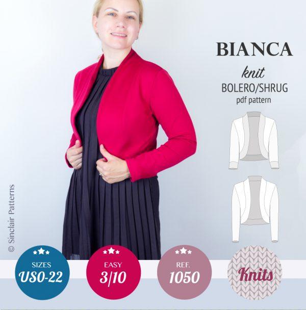 SinclairPatterns 1050 Bianca knit bolero shrug pdf sewing pattern