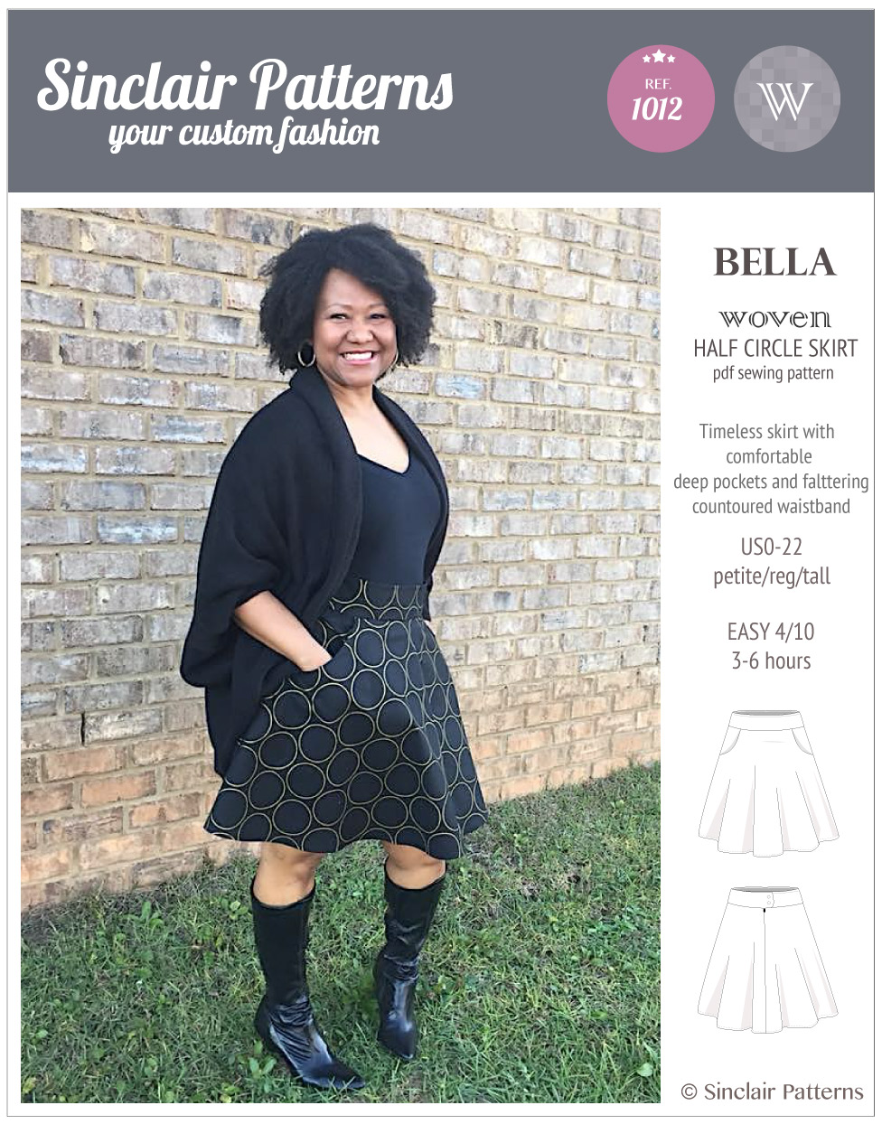 Sinclair Patterns S1012 Bella woven half circle skirt pdf sewing patternSinclair Patterns S1012 Bella woven half circle skirt pdf sewing pattern