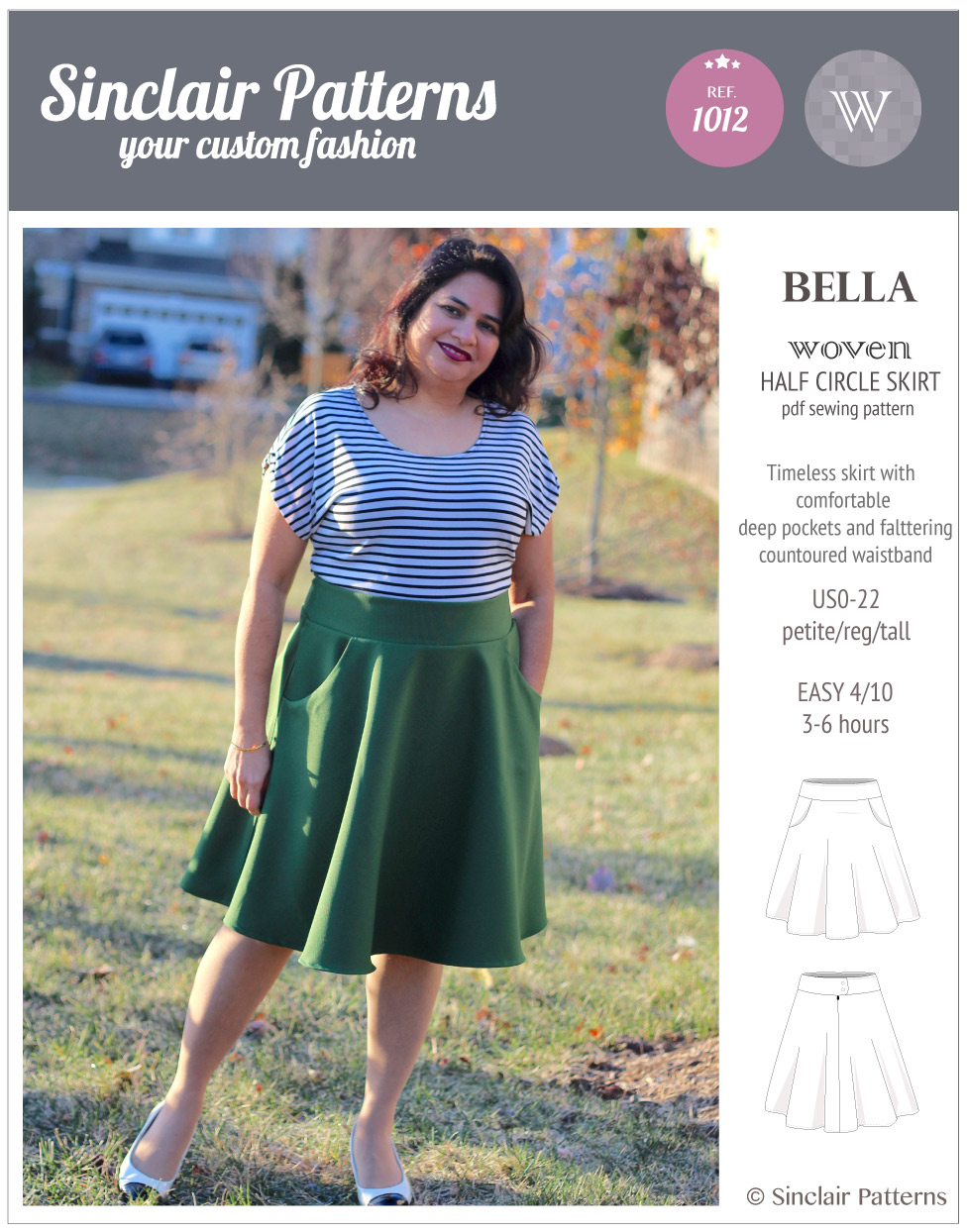 Sinclair Patterns S1012 Bella woven half circle skirt pdf sewing pattern