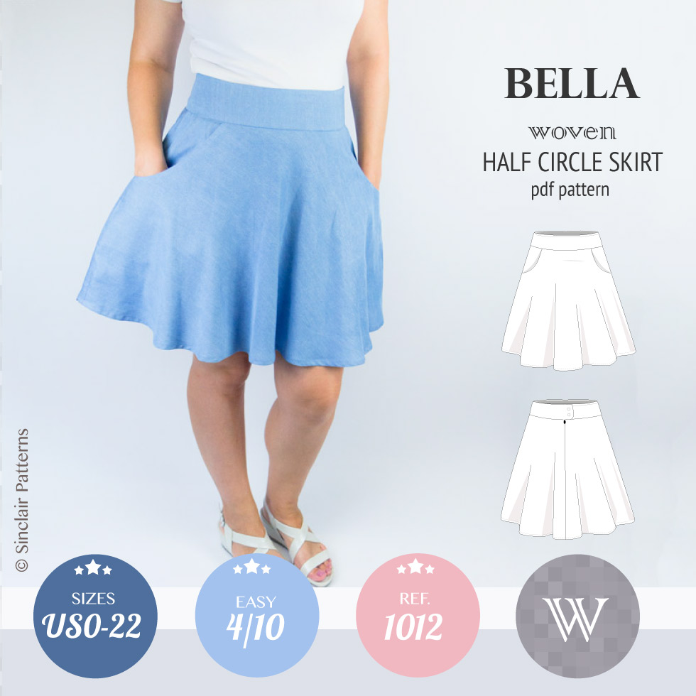 fe31bbdbcb1d27 Sinclair Patterns S1012 Bella woven half circle skirt pdf sewing pattern