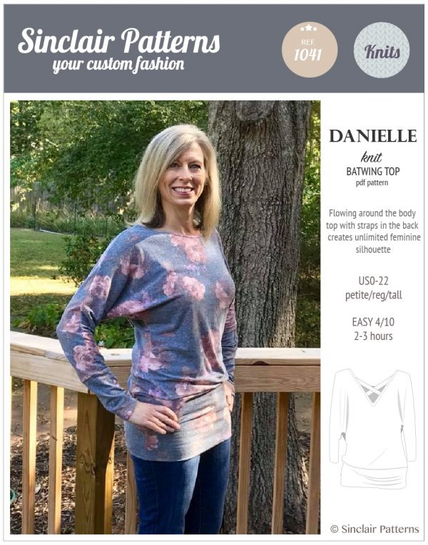 Sinclair Patterns S1041 Danielle relaxed fit batwing knit top pdf sewing pattern