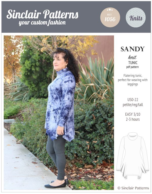 Sinclair Patterns S1056 Sandy knit tunic pdf sewing pattern