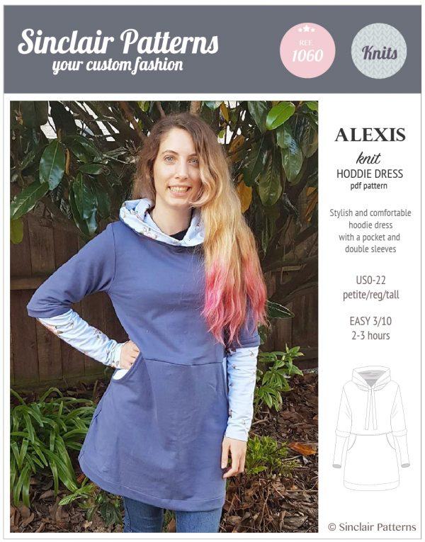 Sinclair Patterns S1060 Alexis hoodie dress pdf sewing pattern