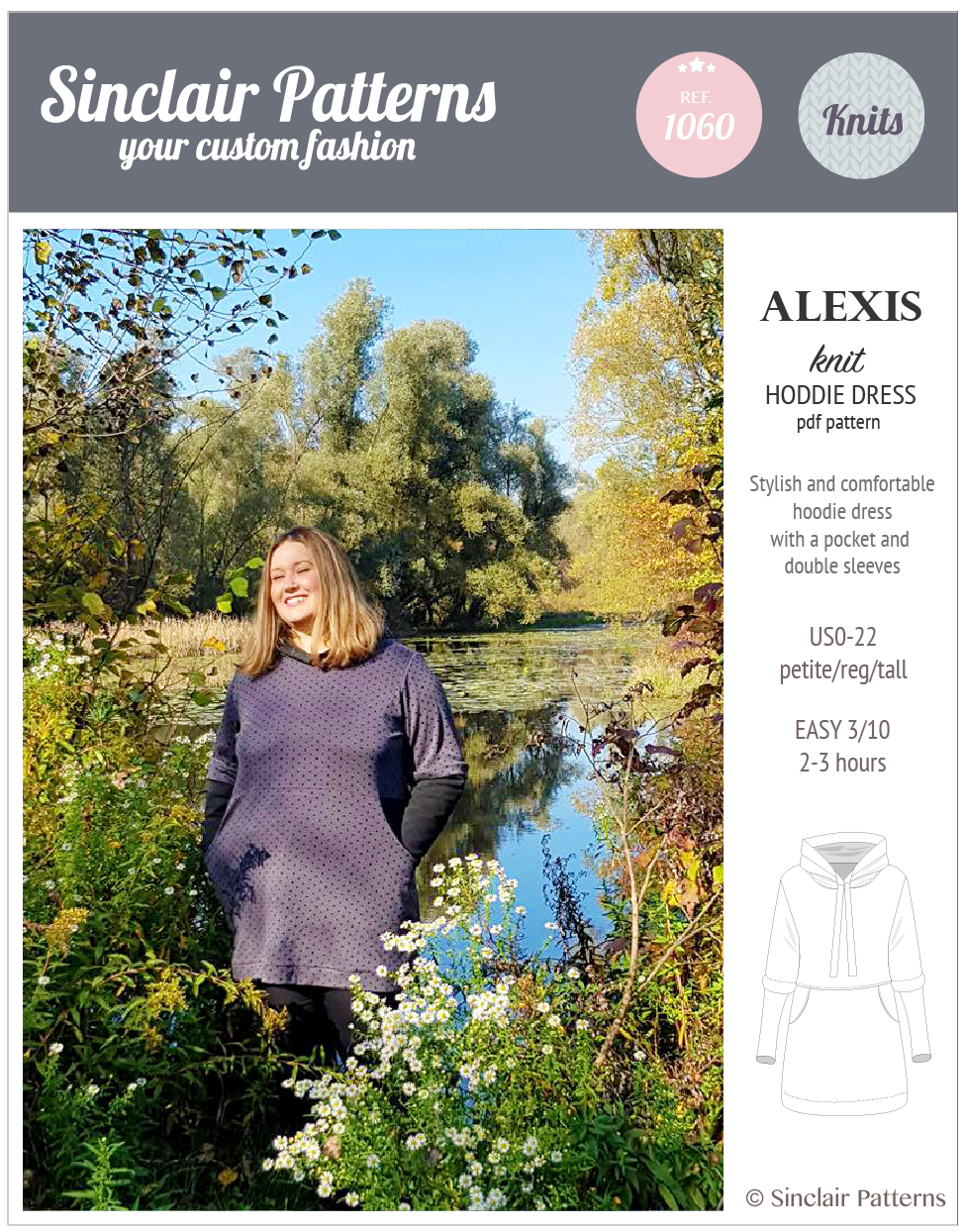 Sinclair Patterns S1060 Alexis hoodie dress pdf sewing pattern