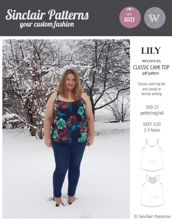 Sinclair Patterns S1021 Lily classic woven cami top pdf sewing pattern