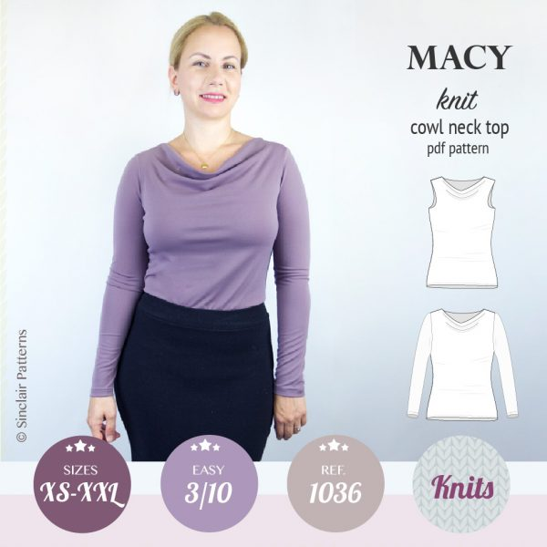 Sinclair Patterns PDF Sewing pattern Macy cowl neck top