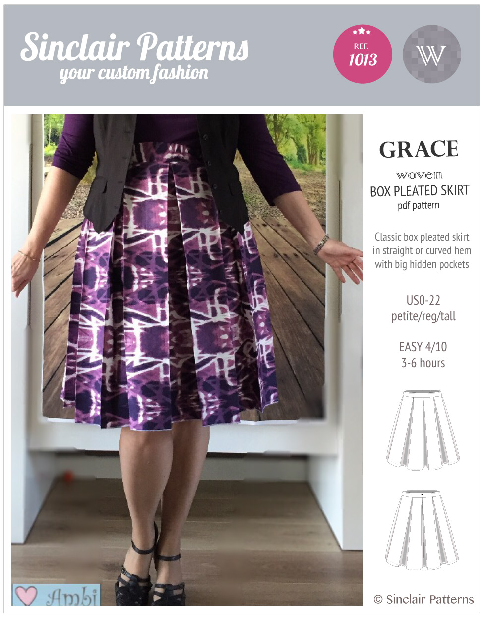 Sinclair Patterns S1013 Grace box pleated skrit pdf sewing pattern