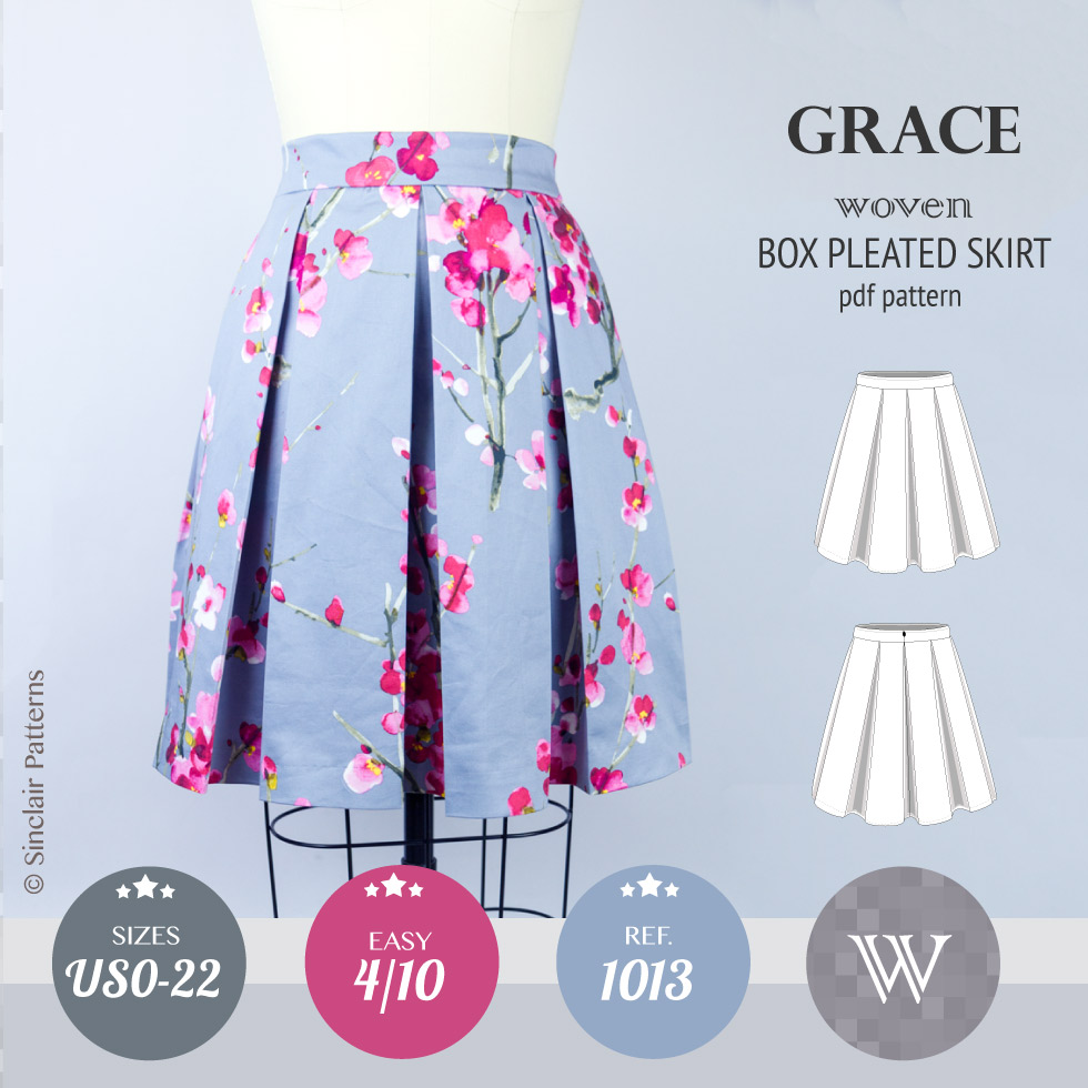Grace box pleated lined woven skirt with pockets (PDF) – Sinclair ...