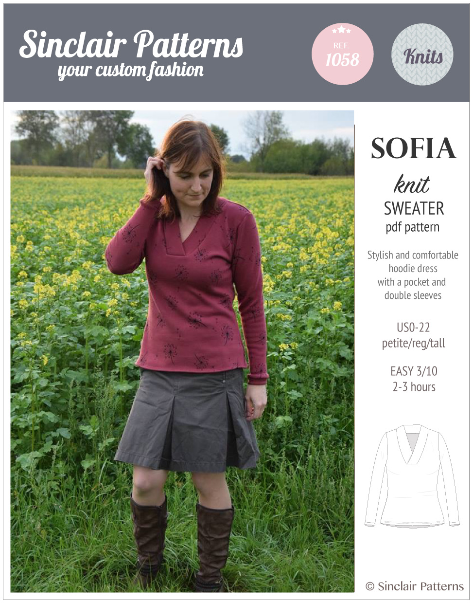 Sinclair patterns 1058 Sofia shawl collar sweater pdf sewing pattern