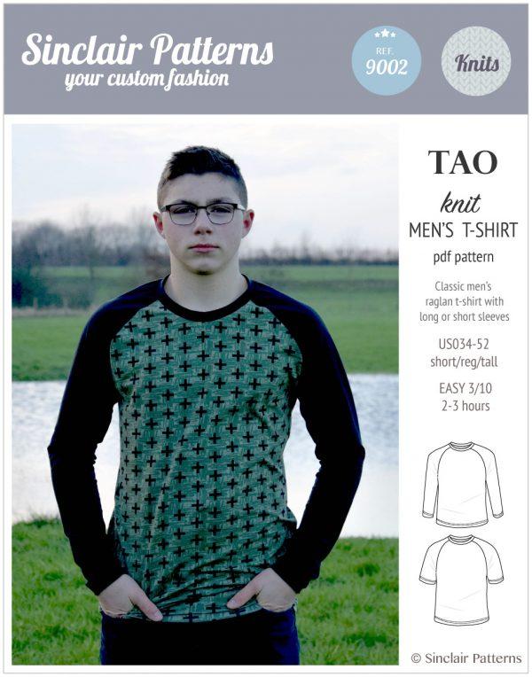 Sinclair Patterns - Pdf sewing pattern Tao classic raglan t-shirt for men